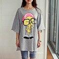 2016 New Verão Tops Tees Mulheres Plus Size Tops 3XL 4XL Impressão Pássaro ocasional Tamanho Grande Meninas Meia Luva de Algodão T-shirt O-pescoço 798