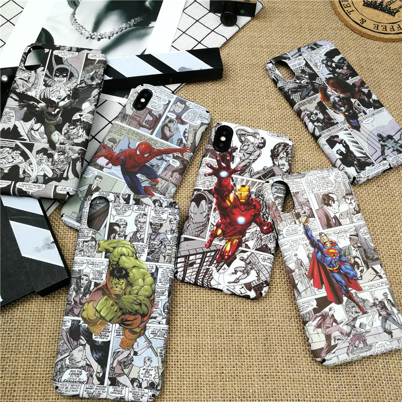 Luminous Marvel Spiderman case for iPhone X XS MAX XR 8 7 6 6s plus hard plastic phone cover for iphone x 10 iron Man coque capa