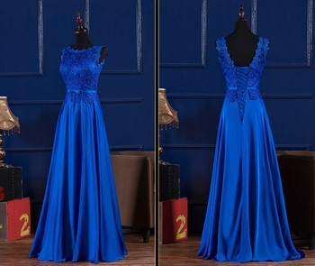 Robe de soiree 2016 elegant royal blue wine red scoop lace satin long bridesmaid dresses for.jpg 350x350
