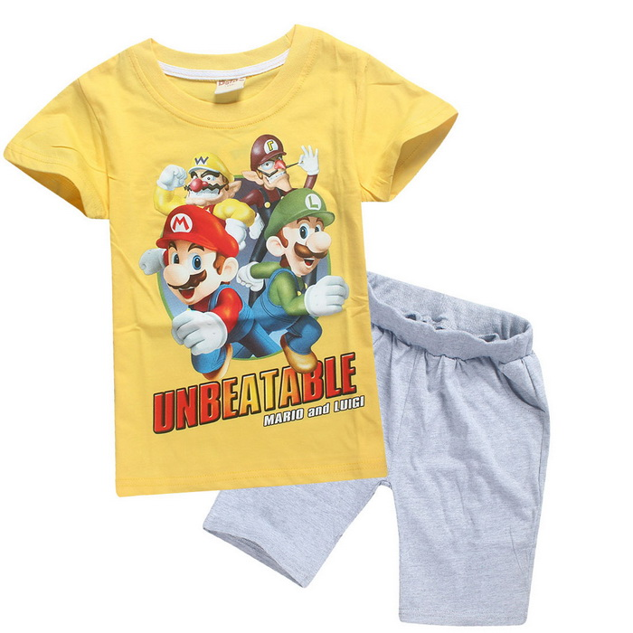 d45b6572477 New Casual Cartoon Cotton Super Mario Children s sets Boys T shirt Short  Pants Kids  clothing Summer Sets Cartoon Pajamas 4 10T-in Clothing Sets  from Mother ...