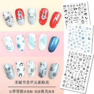 Image 5 - Nail art sticker glow in the dark night sneeuwvlok bell note hart patroon zelfklevende DIY nail art lichtgevende stickers RA028