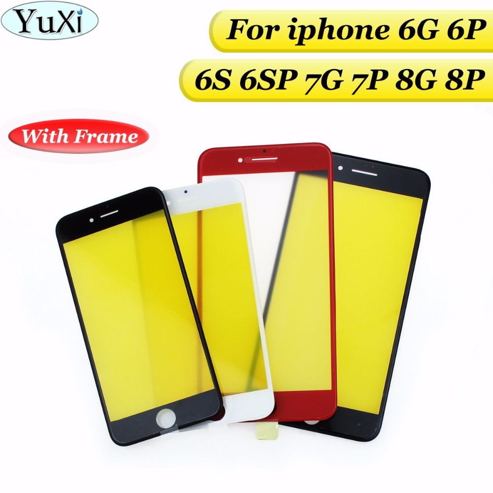 YuXi 1PCS Cold Press Replacement LCD Front Touch Screen Glass Outer Lens with frame film for iphone 6G 6s plus 6S 6 Plus 7 8 image