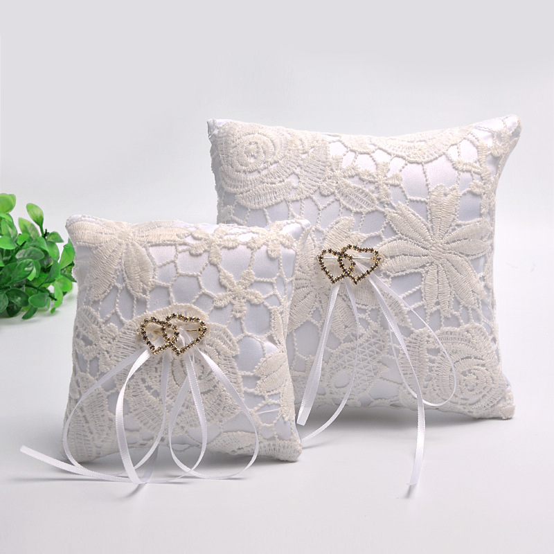 10/15cm Square Wedding Ring Pillow Coussin Alliance Bridal Flower Lace Cushion Wedding Marriage Ceremony Decoration