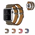 Genuine Leather watch Strap bracelet For apple watch band leather 42mm/38mm Double Buckle Cuff watchbnad for iwatch smart watch