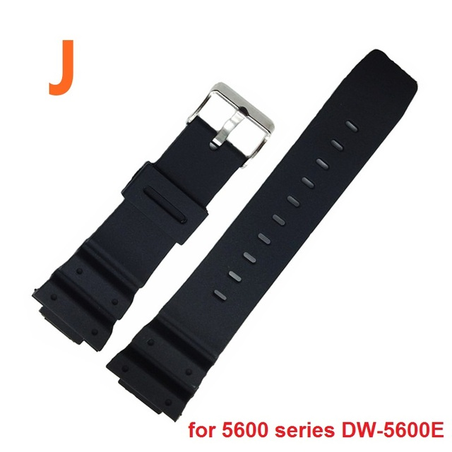 Watchband 16mm Black Silicone Rubber Replacement Watch Straps Band for Watch ga-100/110 and 5600 series Sports Watches