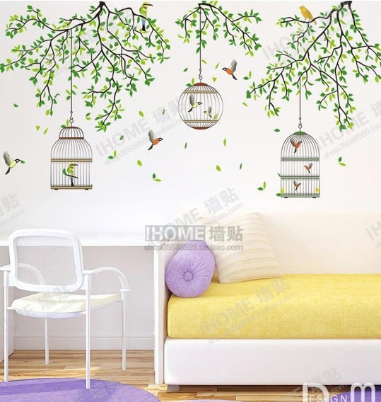 green forest bird cage tree branch wall stickers living room