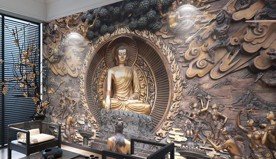 Online get cheap buddha wall murals for Cheap wall mural wallpaper