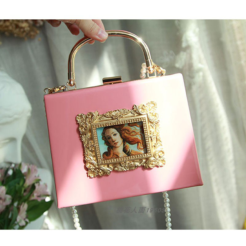Vintage handbag women Embossed oil painting tote bag small Pearl chain shoulder messenger bag PU leather