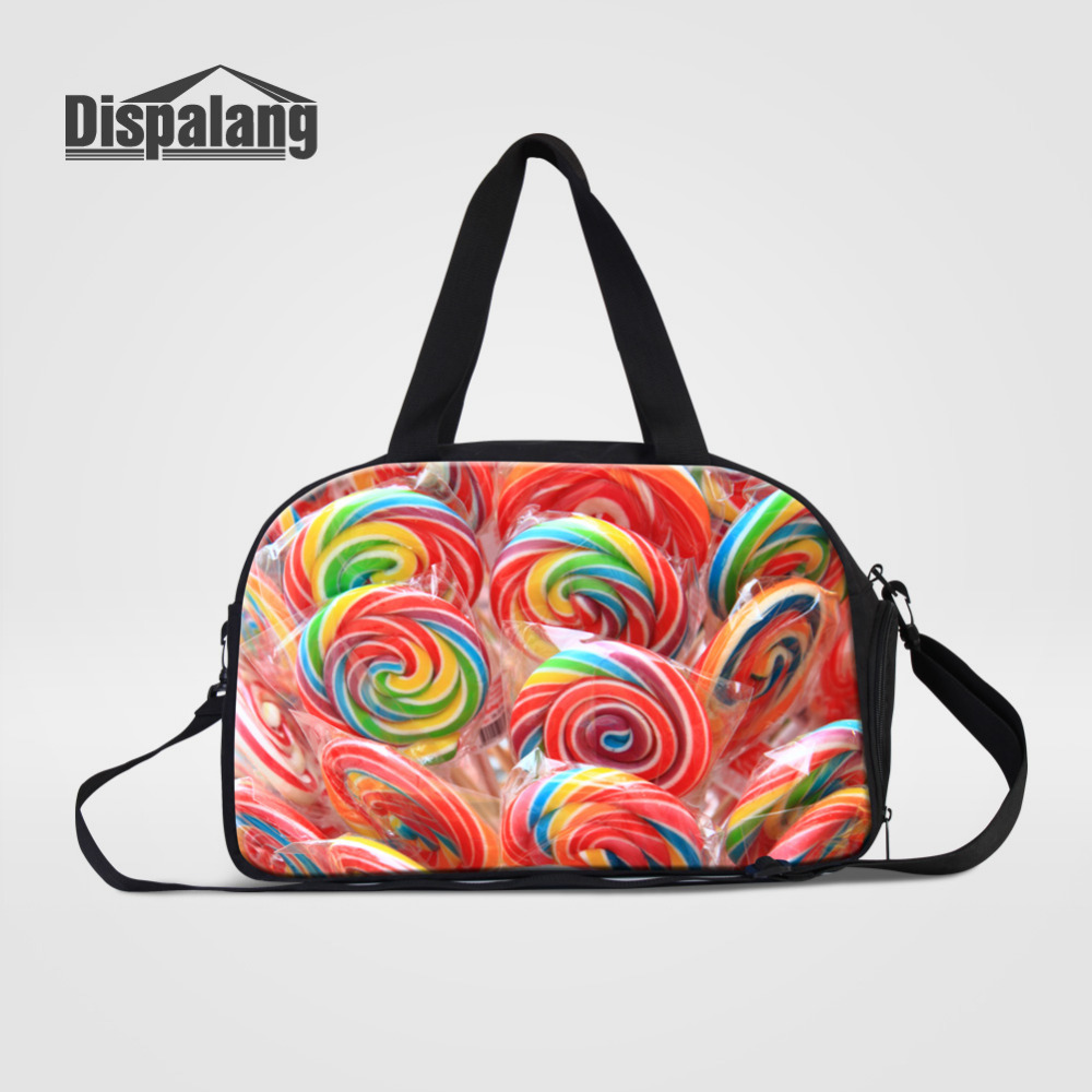 Dispalang Journey Bags Candy Print Womens Overnight Travel Duffel Bag Ladies Tourist Bag Luggage Large Capacity Travel Handbags