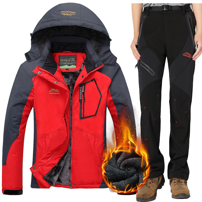 2018 Winter Women Ski Suits Outdoor Waterproof Breathable Fleece Snow  Snowboard Jacket and Pants Female Thermal ed683e4a1