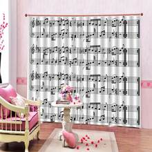 Luxury Blackout 3D Window Curtains For Living Room Bedroom music curtains for girls room Blackout curtain(China)