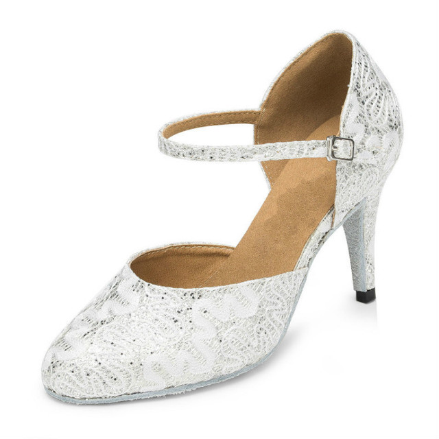 New Popular Women s White Gold Satin Latin Dance Shoes Women Ladies Closed  Toe Salsa Tango Shoes Party Ballroom Dancing Shoes 0b82adc7acc9
