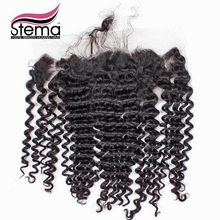 Free Shipping 4X13 Peruvian Virgin Hair Deep Wave Lace Closure Not Bleached Knots 4X13 Size Swiss Lace Deep Wave Closure