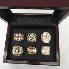 Wooden Boxes With 6 Years 1974 1975 1978 1979 2005 2008 Pittsburgh Steelers Replica Championship Rings sets good quality ring!