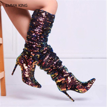 Winter Boots Women Luxury Shiny Bling Sequined Pleated Mid-calf Boots Pointed Toe Thin High Heels Botas Mujer Party Shoes Woman