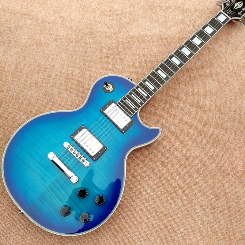 New style high quality LP custom electric guitar, blue maple top, gold hardware, custom electric guitar, free shipping custom shop tl electric guitar classical tele 53 relics yellow milk color relic by hands high quality limited issue signature
