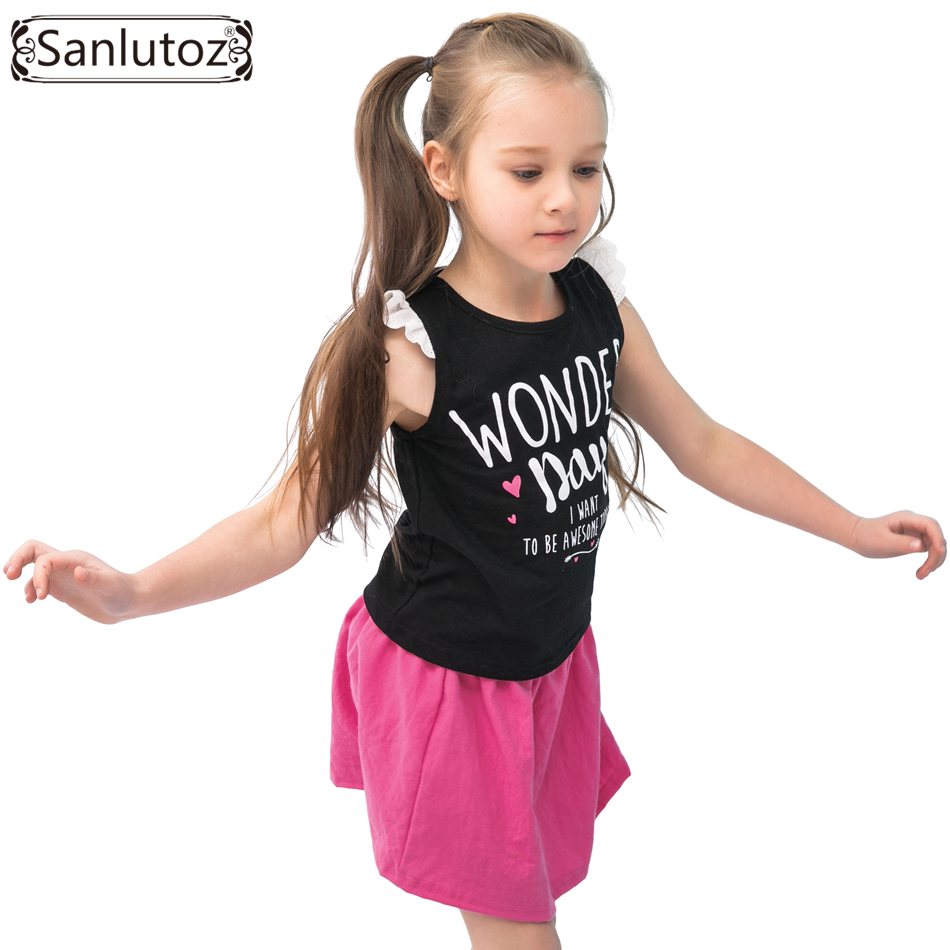 Sanlutoz Summer Girls Clothing Sets Cotton Letters Kids Clothes Sports Girl Clothing Brand Toddler 2017 ( T-Shirt + Skirt ) children kids girls clothing sets outfits black clothes t shirt tops striped enfant cotton ruffled bow shorts skirt toddler girl