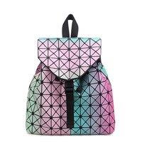 New Spring BAOBAO Backpack Japanese Style Lady Geometry Style Female Bags Large Backpack Luminous Fabrics Free
