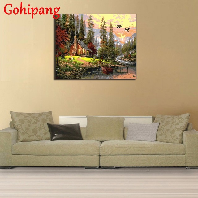Countryside River House Diy Painting By Numbers Hand Painted Oil ...