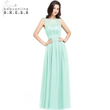 Chiffon Lace Mint Rochii de domnisoare verde la domiciliu Long 2017 O linie O gât Zipper-Up Floor Length