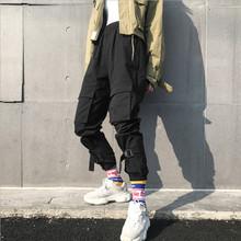 Męskie spodnie cargo spodnie ołówkowe spodnie czarne luźne plus rozmiar fitness spodnie do biegania męskie hip hop streetwear spodnie sznurkiem tanie tanio Mężczyźni Pełnej długości Cargo pants Na co dzień Poliester Midweight Mieszkanie Suknem Elastyczny pas Men pants