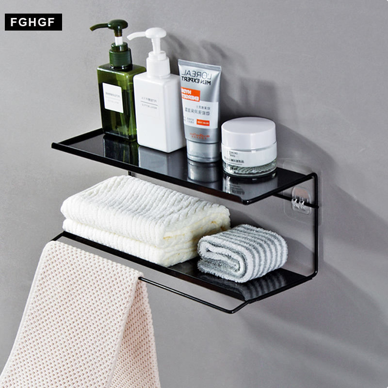2 Layer Iron Bathroom Shelves makeup organizer Shower Corner Shelf Wall Mount Shampoo Storage Shelf Rack Bathroom towel Holder