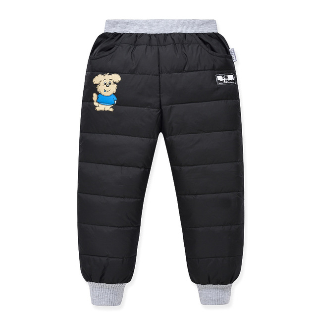 Winter 2016 New Arrival High Waist Boys and Girls Pants Thermal Kids Trousers Warm Thicken Down Pant Windproof Waterproof Pants