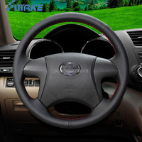 For Toyota highlander 09 14 Black leather DIY Hand Sewing steering wheel cover car accessories