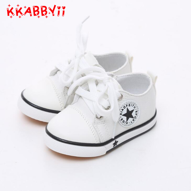Size 21-25 kids Child Sneakers Canvas shoes for baby toddlers shoes soft bottom cow sole ...