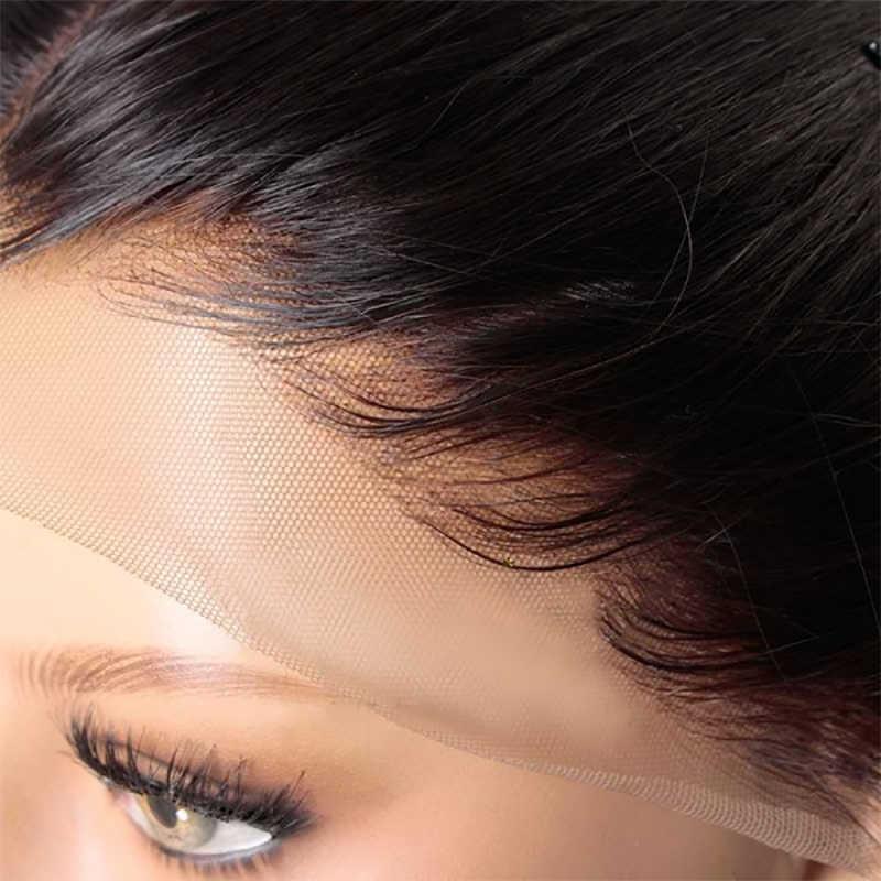 HJ Weave Beauty 6x6 Vetersluiting Pre Geplukt Met Baby Haar Natuurlijke Haarlijn Braziliaanse Straight Remy Hair HD transparant Kant