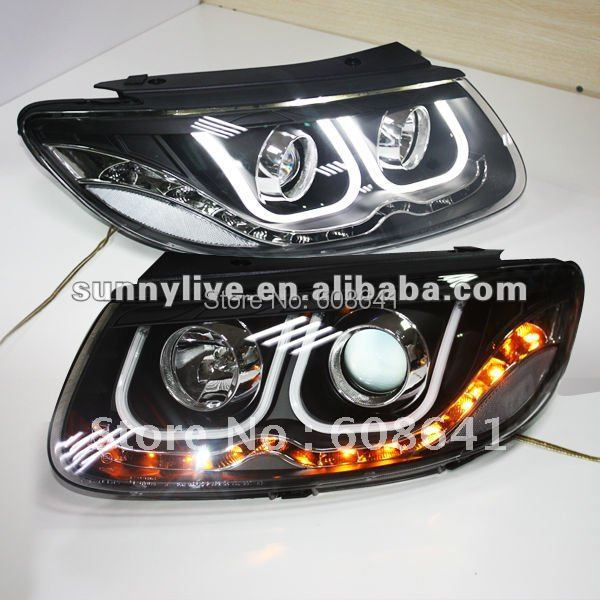 For 2006-2010 Hyundai Santa Fe Angel Eyes LED Head light U Type farcar s130 hyundai santa fe 2006 2013 android r008