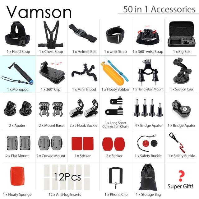 Vamson for Gopro Accessories set For Gopro hero 5 4 3 mount for Xiaomi yi for SJCAM SJ4000 / eken h9/for Sony VS24A
