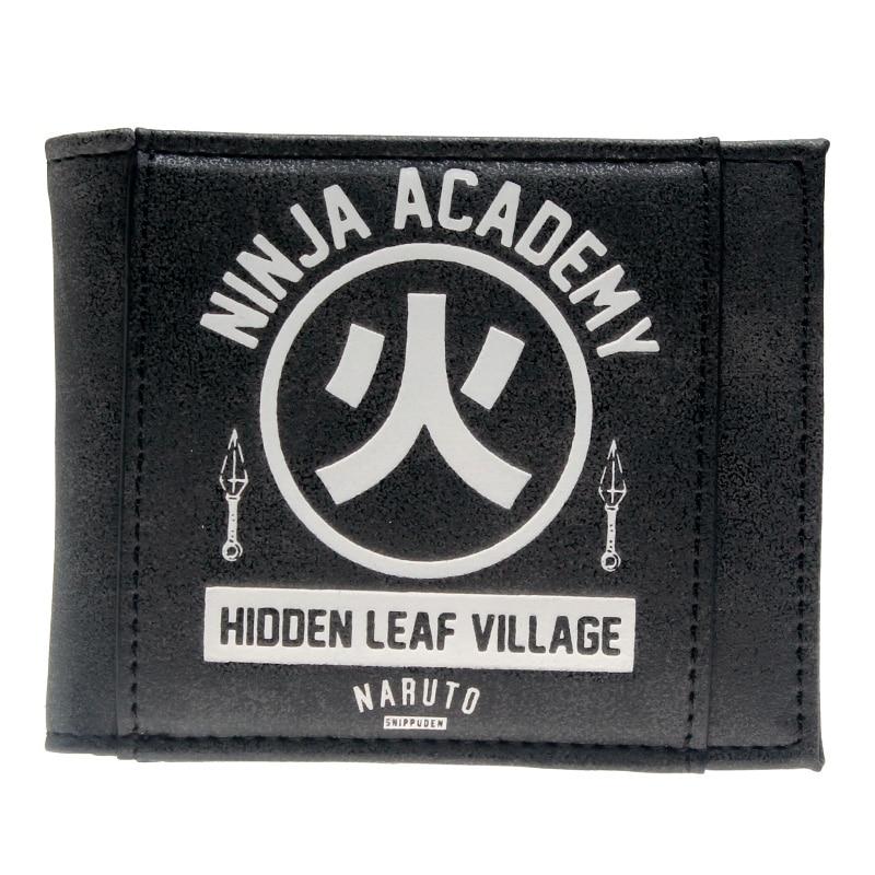 Naruto Black Bi-Fold Wallet  DFT-10100 captain america black metal badge bi fold wallet faux leather dft 1413