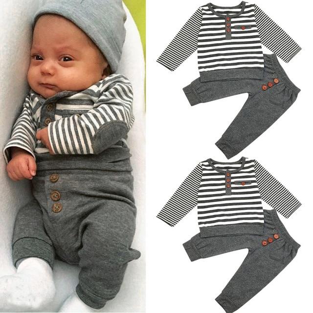 7d2f6d73a MUQGEW niños ropa Europea recién nacido bebé niños manga larga rayas Tops +  Pantalones Bebé trajes