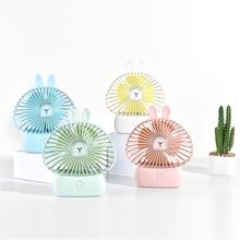 Mini Portable Bunny Handheld Fan USB Charging Cooling Electric Fan with Lights for Home Office Desktop Outdoor Accessories