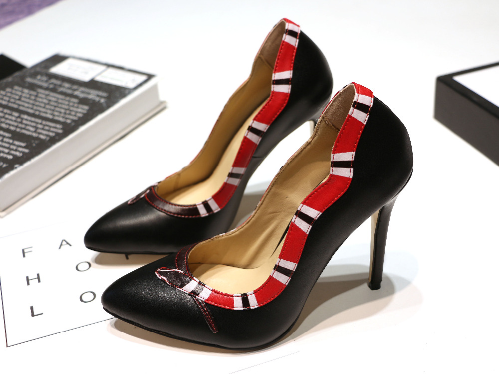 Women Fashion Black Red Yellow Metallic Leather Snake Pumps Thin Heels Party Shoes Lady Roman Wedding Dress Prom Pumps 2018 new arrival women red gold metallic leather border snake pumps thin high heels party shoes lady slip on shoes woman