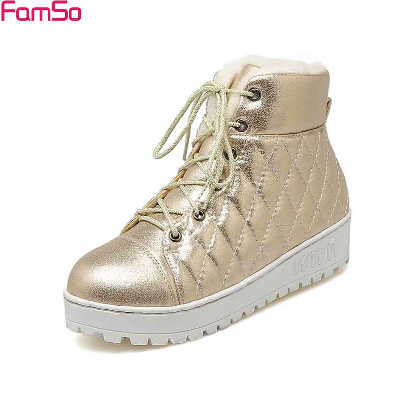 FAMSO 2017 Free Shipping Shoes Women Boots Heels  Flats Lace-up Pink Gold Silver Ankle Boots Winter Full Fur Snow Boots Lady 2016 new golf club putter men s gold silver 33 34 35inch can pick up the ball free shipping