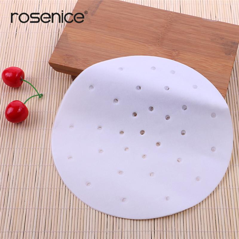Perforated Parchment Round Steamer Paper Liners Suitable For Air Fryer Cooking Steaming Basket Vegetables Dim Sum Rice 23cm