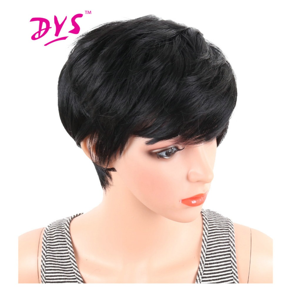 Deyngs Pixie Cut Straight Synthetic Wig For Black Women High Temperature Short Black Color Natural Hair With Bangs Noce Lace Wig