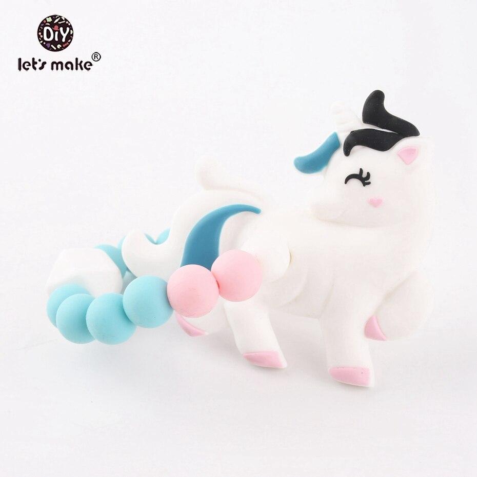 Let's Make Silicone Unicorn Nursing Bracelet Set 5pc Food Grade Silicone Teething Bracelet Sensory Chewing Toy Rattle Toys Baby