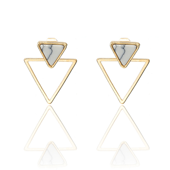 New Earrings Fashion Simple Stud Earrings Personality Trend Push-back Triangle Earrings Wholesale Jewelry Women's Earrings 2