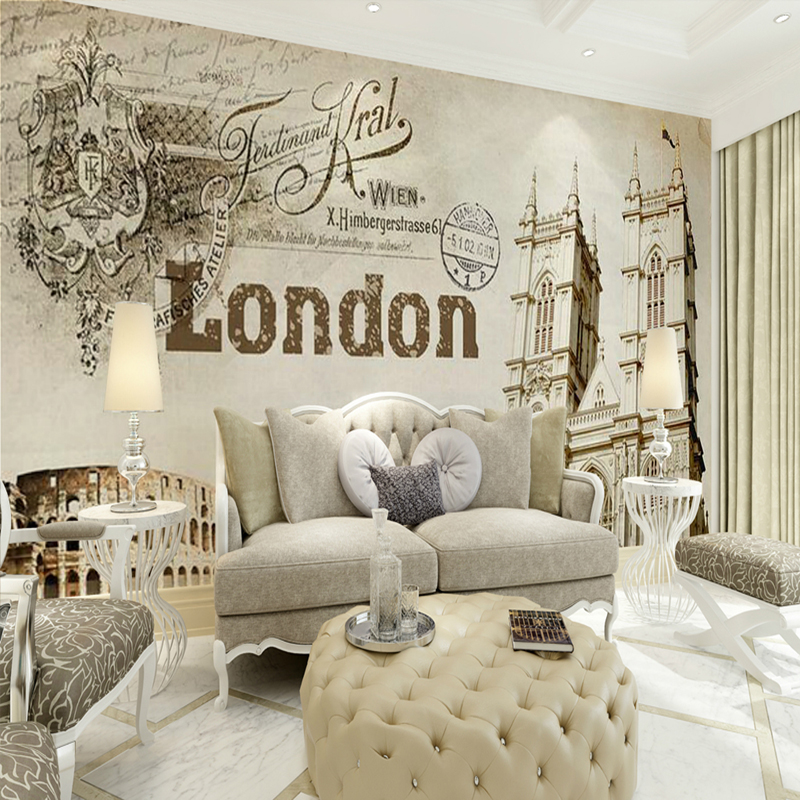 Retro Paris London church backdrop living room bedroom wallpaper