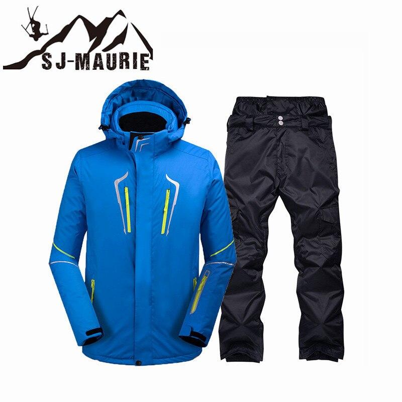 Sj-maurie hommes Snowboard Ski costume veste pantalon hiver plein air Sport imperméable coupe-vent chaud neige costume ensembles veste de Ski