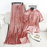 ALPHALMODA Early Autumn Fashion T Shirt Wide Leg Pants 2pcs Suits Stand Collar Shining Velvet