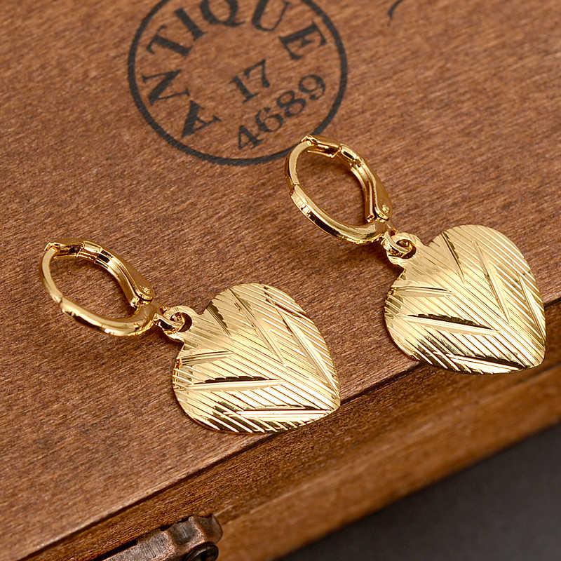 2 pares amor corazón gota pendiente etíope/Nigeria/Kenia/Ghana color oro Dubai africano Oriente Medio joyería de la mamá, regalos