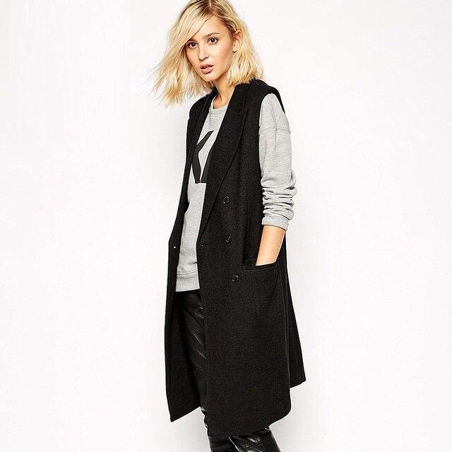 Женщины blazer мода slim двубортный костюм воротник карман декоративные после сплит длинный жилет пиджаки ZJ1099