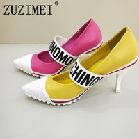 2019 New Arrival European Station Pumps Shoes Women Monogrammed Alphabet Lace Up High heel 7.5CM Cross tied Lady's Party Shoes