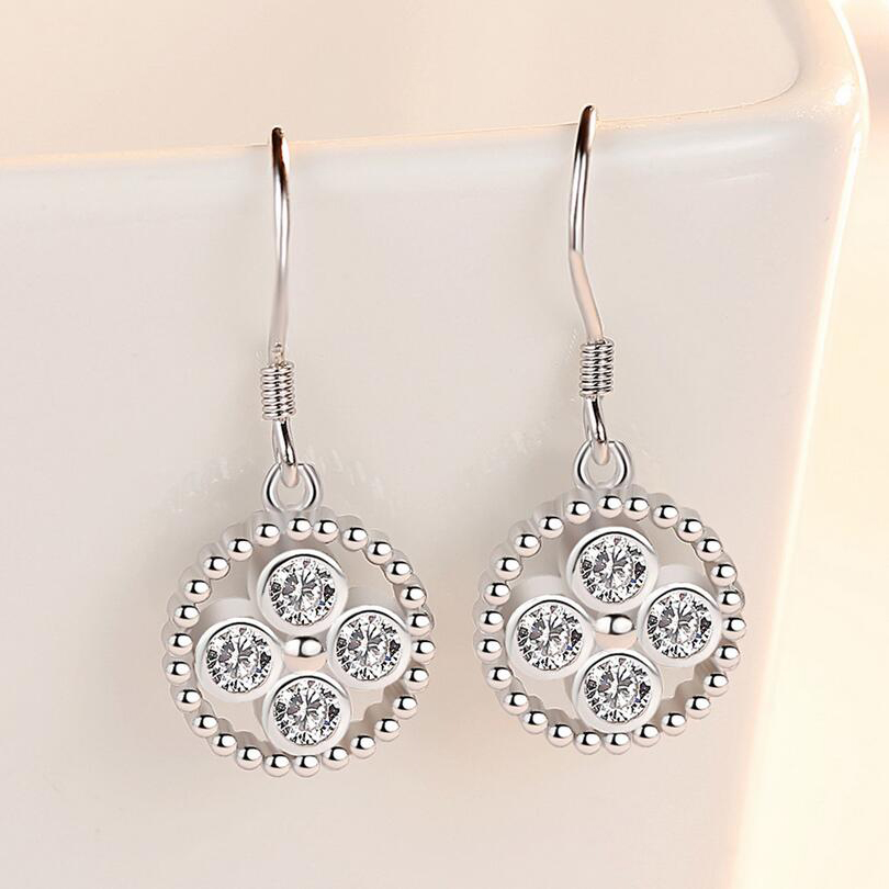 Geometric Round Drop Earring Female Style Water Silver Color Earrings for Women Fashion Jewelry