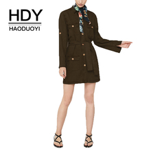 HDY Haoduoyi Neutral Casual Vintage Small Lapel Patch Pockets Button Waistband Army Green Dress Vestido Womens Autumn Winter