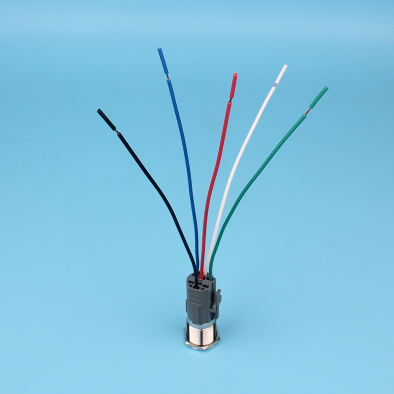 SET 19mm ring LED light push button switch wiring harness momentary ...